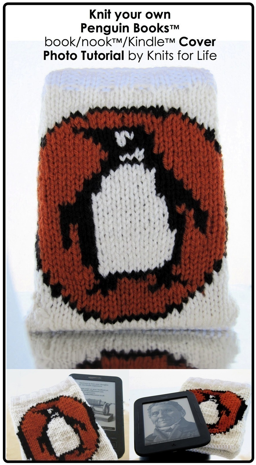 Penguin Book Cover Make Your Own ~ Knitted penguin books book nook kindle cover · how to make