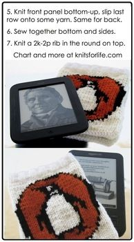 Snuggle your device in library chic! .  Free tutorial with pictures on how to make a book cover in 7 steps by knitting with yarn, pencil, and ruler. Inspired by books, creatures, and vintage & retro. How To posted by Lorna at Knits for Life. Difficulty: 3/5. Cost: Cheap.