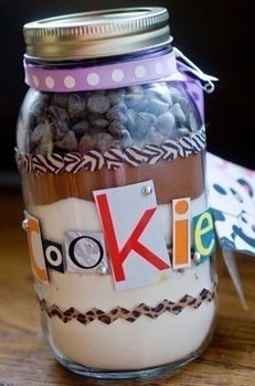 Give the gift of a punk rock cookie jar mix. .  Free tutorial with pictures on how to bake a cookie in under 30 minutes by baking and decorating with ribbon, magazine, and card. Recipe posted by Isa M. Difficulty: Simple. Cost: Cheap. Steps: 10