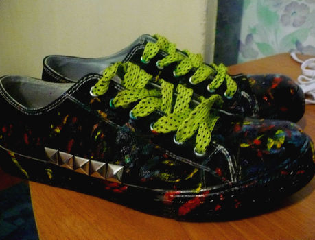 Creative shoes, paint, originally .  Make a pair of embellished shoes in under 180 minutes by decorating and studding with shoes. Inspired by clothes & accessories. Creation posted by Tallula A. Difficulty: 3/5. Cost: No cost.