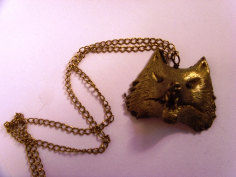 Polymer Clay Wolf Head Pendant 183 A Clay Animal Necklace