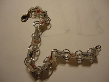 I think I'm on a shrinky dink kick .  Make a shrink plastic bracelet in under 60 minutes using jump rings, lobster clasp, and shrinky dink. Inspired by hearts. Creation posted by aranumenwen. Difficulty: Easy. Cost: Absolutley free.