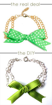 $32 on Ettika's site. Less than $3 at home. make your own designer-style cute bow bracelet! .  Free tutorial with pictures on how to make a bow bracelet in under 60 minutes by jewelrymaking and chainmailing with ribbon, chain, and clasps. Inspired by vintage & retro, designer, and kawaii. How To posted by Quiet Lion. Difficulty: Easy. Cost: Absolutley free. Steps: 6