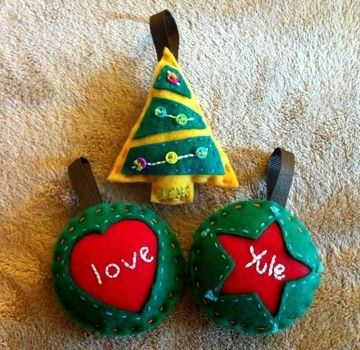 Hand Sewn Decorations .  Make a Christmas decoration in under 90 minutes by embroidering and sewing with scissors, felt, and ribbon. Inspired by christmas and trees. Creation posted by Pam. Difficulty: Simple. Cost: Cheap.