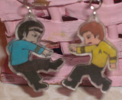 Insert punny tagline here .  Make a pair of shrink plastic earrings in under 10 minutes by drawing and jewelrymaking with earring hooks and shrinky dink paper. Inspired by star trek and anime & manga. Creation posted by .:.~Lora~.:. Difficulty: Easy. Cost: Absolutley free.