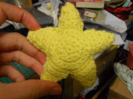 Like a starry night sky~ .  Make a shape plushie in under 60 minutes by constructing, needleworking, sewing, yarncrafting, and crocheting with yarn, crochet hook, and yarn needle. Inspired by super mario, kawaii, and stars. Creation posted by Anjellee. Difficulty: Simple. Cost: Absolutley free.