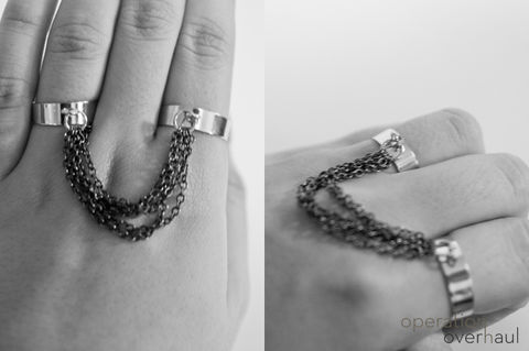 Easy double ring everyone can make! .  Free tutorial with pictures on how to make a chain ring in under 20 minutes by jewelrymaking with jump rings, chain, and pliers. Inspired by clothes & accessories. How To posted by Operation Overhaul. Difficulty: Easy. Cost: Cheap. Steps: 7