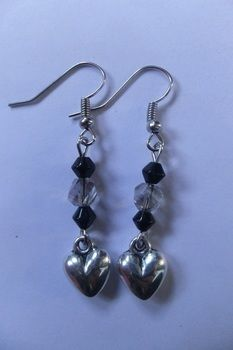<3 .  Make a pair of beaded earrings in under 10 minutes by jewelrymaking with beads, charms, and eye pins. Inspired by gothic and hearts. Creation posted by JossieAyame. Difficulty: Easy. Cost: Cheap.