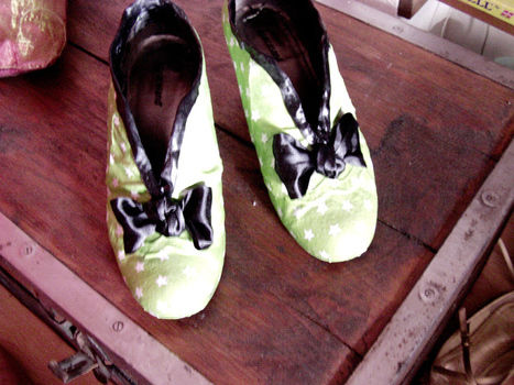 A little bit of rockabilly.. .  Make a pair of fabric covered shoes using fabric, scissors, and paint brush. Inspired by vintage & retro and clothes & accessories. Creation posted by Jenny J. Difficulty: 4/5. Cost: Cheap.