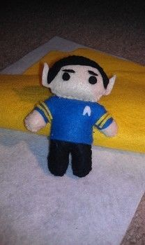 Cute Felt Spock plushie .  Sew a TV show plushie by sewing with felt, needle and thread, and polyester stuffing. Inspired by star trek, kawaii, and people. Creation posted by Veronica Stampede. Difficulty: Simple. Cost: Cheap.