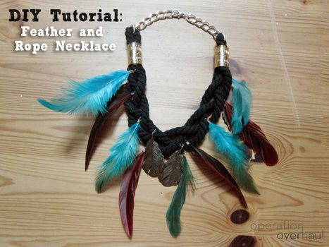 Go tribal with this feather and rope combination! .  Free tutorial with pictures on how to make a feather necklace in under 60 minutes by braiding and jewelrymaking with jump rings, chain, and charms. Inspired by clothes & accessories. How To posted by Operation Overhaul. Difficulty: 3/5. Cost: 3/5. Steps: 14