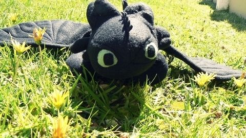 The cute nightfury from How To Train Your Dragon .  Make a food plushie by sewing with felt, fleece, and filling. Inspired by domo kun, domo kun, and domo kun. Creation posted by Lauren. Difficulty: Easy. Cost: 3/5.