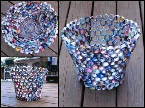 A nice homemade wastebin with a unique style! .  Make a recycled bowl using scissors, hot glue gun, and decoupage glue. Creation posted by Tiffany Marie. Difficulty: 3/5. Cost: Cheap.