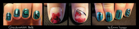 A new, slightly morbid,  take on celebratory nails .  Paint a themed nail manicure in under 60 minutes by nail painting with nail polish. Creation posted by EmmaThePrincess. Difficulty: Simple. Cost: Absolutley free.