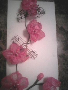 Cherry blossom with music note winds .  Make an origami flower in under 90 minutes by creating and papercrafting with tissue paper. Inspired by flowers. Creation posted by raymond a. Difficulty: 4/5. Cost: Cheap.