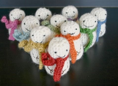 Create an army of miniature snowmen this winter! .  Free tutorial with pictures on how to make a snowman plushie in under 30 minutes by crocheting with yarn, crochet hook, and polyfill. Inspired by crafts, christmas, and creatures. How To posted by Jill. Difficulty: Simple. Cost: Cheap. Steps: 4