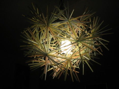 Version of Drinking Straw Starburst Hanging Light Fixture .  Make a straw light in under 60 minutes by decorating with wire and drinking straw. Creation posted by mimilover. Difficulty: 3/5. Cost: Absolutley free.