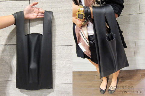 Not just your usual grocery bag!  .  Free tutorial with pictures on how to sew a leather tote in under 45 minutes by sewing with fabric, scissors, and sewing machine. Inspired by clothes & accessories. How To posted by Operation Overhaul. Difficulty: Simple. Cost: Cheap. Steps: 10
