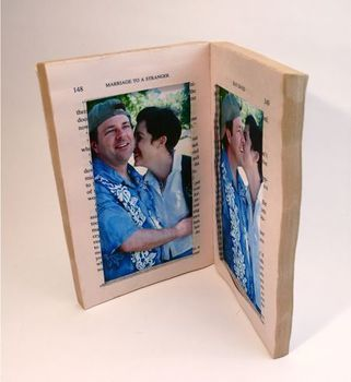 How to Make a Paperback Picture Frame .  Free tutorial with pictures on how to make a recycled photo frame in under 40 minutes by constructing with decoupage glue, glue stick, and book. How To posted by Sister Diane. Difficulty: Simple. Cost: Cheap. Steps: 11