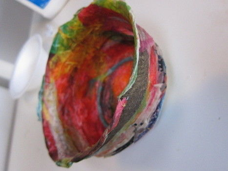 Decorate some papier mache rag bowls. .  Free tutorial with pictures on how to make a paper bowl in under 60 minutes by Papier-mâchéing with fabric, scissors, and white glue. How To posted by Sonya N. Difficulty: Simple. Cost: Cheap. Steps: 4