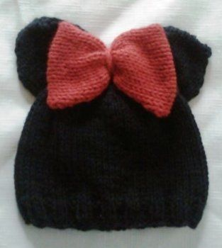 Minnie Mouse Hat .  Make an animal hat in under 50 minutes by yarncrafting with yarn. Inspired by mickey & minnie mouse. Creation posted by Essence. Difficulty: Easy. Cost: Absolutley free.