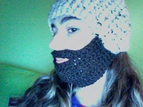 To keep your chin warm .  Free tutorial with pictures on how to make a bearded hat in under 135 minutes by crocheting with chunky yarn. Inspired by crafts, costumes & cosplay, and people. How To posted by yaddayadda. Difficulty: Simple. Cost: No cost. Steps: 1