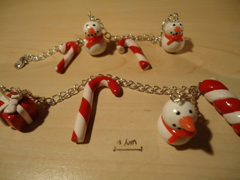 Some bracelets that I made !! :) .  Sculpt a clay food bracelet in under 90 minutes by jewelrymaking with wire, polymer clay, and chain. Inspired by christmas and kawaii. Creation posted by So-fimo. Difficulty: Easy. Cost: Cheap.