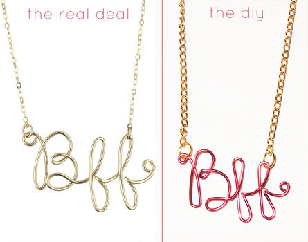 Save the $100 from this designer necklace, and make it yourself! .  Free tutorial with pictures on how to make a wire word necklace in under 30 minutes by beading, jewelrymaking, stencilling, and wireworking with wire, chain, and pliers. Inspired by vintage & retro, kawaii, and people. How To posted by Quiet Lion. Difficulty: Easy. Cost: Absolutley free. Steps: 5