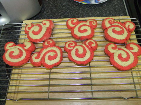 Cookies for Christmas .  Bake a pinwheel cookie in under 120 minutes by baking and decorating food with butter, caster sugar, and plain flour. Inspired by christmas and mickey & minnie mouse. Creation posted by Christie. Difficulty: Simple. Cost: 3/5.