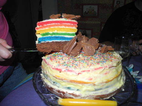 .  Bake a rainbow cake in under 60 minutes by baking Inspired by rainbow. Version posted by vitriol. Difficulty: 3/5. Cost: Cheap.