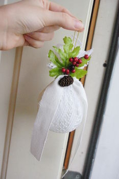 Looks gorgeous on the tree! .  Make a bauble in under 10 minutes by decorating and not sewing with ribbon, hot glue gun, and lace. Inspired by flowers. Creation posted by Liddlehopper. Difficulty: Simple. Cost: No cost.