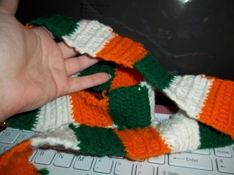 Erin go Bragh!! .  Knit Or Crochet a stripy scarf in under 60 minutes by crocheting with yarn. Inspired by irish, st patrick's day, and clothes & accessories. Creation posted by Ashley P. Difficulty: Easy. Cost: Absolutley free.