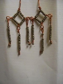 Simple, easy to make, nice to wear! .  Free tutorial with pictures on how to make a pair of chandelier earrings in under 90 minutes by beading, jewelrymaking, and wireworking with scissors, pliers, and seed beads. Inspired by clothes & accessories. How To posted by Archana Kamal. Difficulty: Simple. Cost: Cheap. Steps: 16