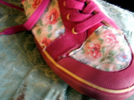 Revamp your shoes .  Free tutorial with pictures on how to make a pair of fabric covered shoes in under 90 minutes by embellishing with fabric, pens, and hot glue. How To posted by Supernova's Child. Difficulty: 3/5. Cost: No cost. Steps: 4
