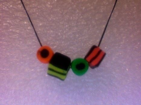 Sadly non-edible :P .  Sculpt a clay food necklace in under 30 minutes by beading and jewelrymaking with polymer clay, string, and clasps. Creation posted by Freya O. Difficulty: Simple. Cost: 3/5.
