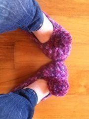 Kind of remind you of tinker bell's flats, only pinker .  Stitch a pair of knit or crochet slippers by crocheting Inspired by tinkerbell and shoes. Creation posted by Sandra L. Difficulty: Easy. Cost: No cost.
