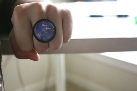 To Infinity and Beyond .  Free tutorial with pictures on how to make a cabochon ring in under 60 minutes by decorating with scissors, glue, and paint. Inspired by space, vintage & retro, and clothes & accessories. How To posted by tancatstan. Difficulty: Easy. Cost: Absolutley free. Steps: 5