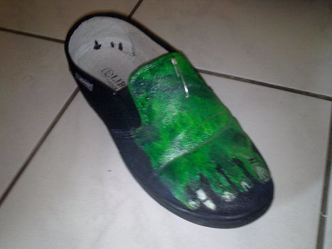 Zombie shoe .  Paint a pair of painted shoes in under 150 minutes by sewing and decorating with paint brush and time. Inspired by halloween, zombies, and gothic. Creation posted by Csaba N. Difficulty: 4/5. Cost: Cheap.