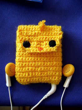 Crocheted ipod case :D .  Stitch a knit or crochet pouch by crocheting with yarn, crochet hook, and cotton thread. Inspired by chicken. Creation posted by Valeria M. Difficulty: Simple. Cost: Cheap.