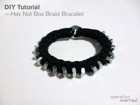 Polished hardware arm candy!  .  Free tutorial with pictures on how to make a hardware bracelet in under 60 minutes by braiding with super glue, washer, and hexagon nuts. Inspired by clothes & accessories. How To posted by Operation Overhaul. Difficulty: Simple. Cost: Cheap. Steps: 13