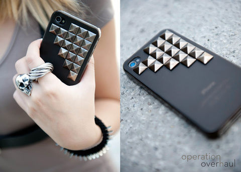 For a swanky new look everytime you pick up a call!  .  Free tutorial with pictures on how to make a phone case in under 10 minutes by embellishing and studding with pyramid studs and phone case. Inspired by clothes & accessories. How To posted by Operation Overhaul. Difficulty: Easy. Cost: Absolutley free. Steps: 4