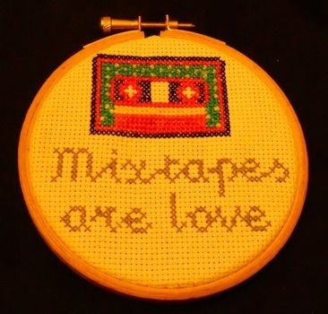 Mixtapes = love. A  .  Embroider art by cross stitching with embroidery hoop, crochet thread, and aida cloth. Inspired by vintage & retro. Creation posted by Margo X. Difficulty: Easy. Cost: Cheap.