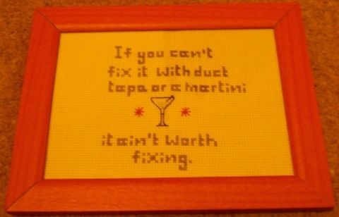 Martini, check. Duct tape, check.  .  Cross Stitch art in under 180 minutes by cross stitching with crochet thread, aida cloth, and wooden frame. Inspired by drinks. Creation posted by Margo X. Difficulty: Easy. Cost: No cost.