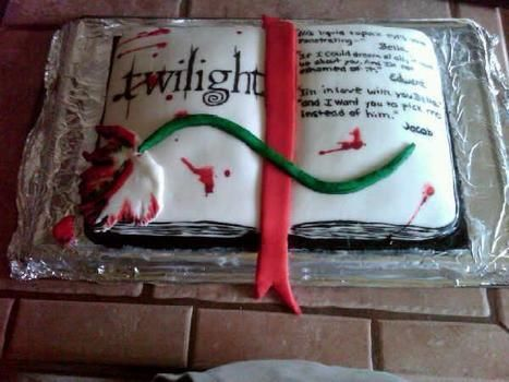 Twilight book open book cake .  Decorate a character cake by baking, decorating food, and cake decorating with paint brush, food coloring, and cake mix. Inspired by twilight, vampires, and cake. Creation posted by Jessica P. Difficulty: Simple. Cost: Cheap.