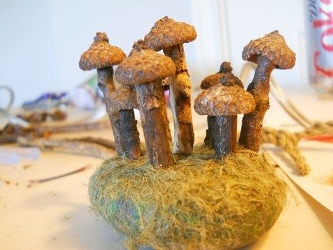 Acorn mushrooms! .  Make a recycled model in under 30 minutes by constructing with stick(s), hemp, and rock. Creation posted by Bethany Joy. Difficulty: Easy. Cost: No cost.