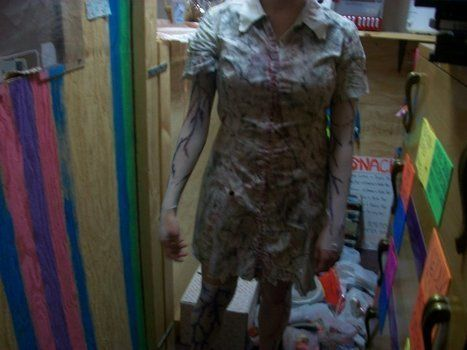 My Silent Hill Nurses' Costume I made on a budget of 23 bucks in 2010! .  Make a nurse costume by spraypainting, decorating, embellishing, marbling, dyeing, needleworking, decoupaging, sewing, and dressmaking with fabric, fabric, and scissors. Inspired by halloween, movies, and gothic. Creation posted by kistnerelizabeth. Difficulty: 4/5. Cost: Cheap.