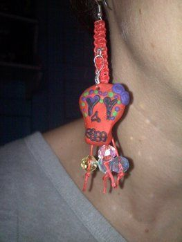 Sugar skull /hemp earrings  .  Braid a set of braided earrings by beading, jewelrymaking, and knotting with beads, jump rings, and beading wire. Inspired by halloween, gothic, and vintage & retro. Creation posted by alexoid a. Difficulty: Simple. Cost: Cheap.
