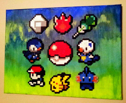 A gift for one of my best fwans :D .  Make a beaded character in under 120 minutes by creating, beading, pegboarding, fusing, and decorating with acrylic paint, canvas, and perler beads. Inspired by pokemon. Creation posted by LivingDeadGirl. Difficulty: Simple. Cost: 3/5.