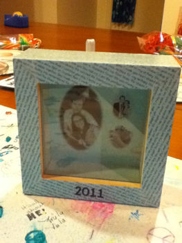 A box to remember 2011 by .  Make a shadow box in under 90 minutes by embellishing and printing with decoupage glue, box, and scrapbook paper. Inspired by people. Creation posted by iRachel. Difficulty: Easy. Cost: Cheap.