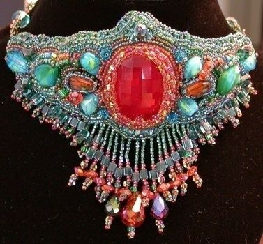 A bead embroidery project employing a variety of glass .  Make a collar / bib by creating, beading, jewelrymaking, and sewing with fabric, glass beads, and fabric glue. Inspired by halloween, gothic, and costumes & cosplay. Creation posted by Regina R. Difficulty: Easy. Cost: 3/5.